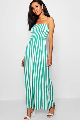boohoo Petite Lily Stripe Ruched Bandeau Maxi Dress