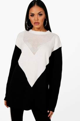 boohoo Ivy Colour Block Chevron Knitted Oversized Jumper
