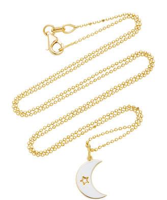 Andrea Fohrman White Crescent Enamel Necklace
