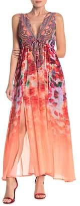 Shahida Parides Plunge V-Neck Double Slit Maxi Dress