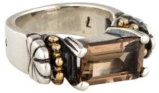 Lagos Two-Tone Smoky Quartz Caviar Ring