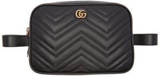 Gucci Black Quilted GG Marmont Belt Bag