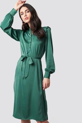NA-KD Na Kd Balloon Sleeve Ruffle Shoulder Midi Dress Dark Green