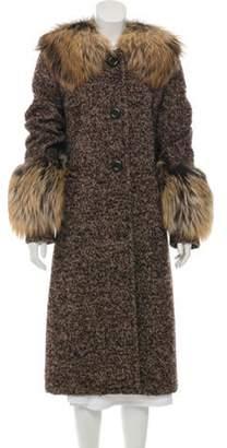 Michael Kors Fox Fur-Trimmed Long Coat Brown Fox Fur-Trimmed Long Coat
