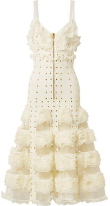 Jacquard-knit And Ruffled Mesh Gown - Ivory
