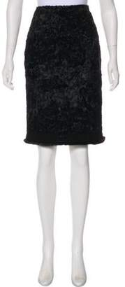 Andrew Gn Fur-Trimmed Patterned Skirt w/ Tags Black Fur-Trimmed Patterned Skirt w/ Tags