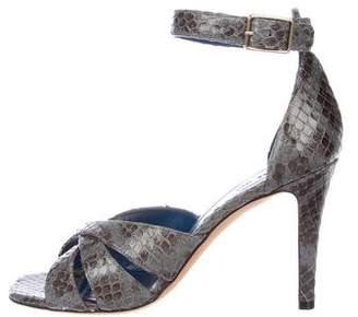 Celine Snakeskin Crossover Sandals