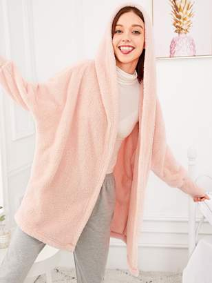 Shein Solid Plush Hooded Robe