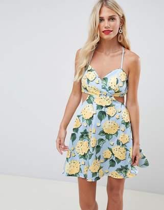 Asos DESIGN strappy babydoll mini dress in floral print