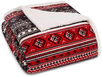 Eddie Bauer Classic Fair Isle Black Sherpa Full/Queen Blanket Bedding