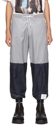 Thom Browne Grey and Navy Ripstop Sweatpants