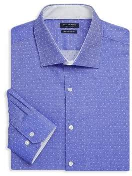 Tailorbyrd Afton Trim-Fit Dotted Cotton Dress Shirt