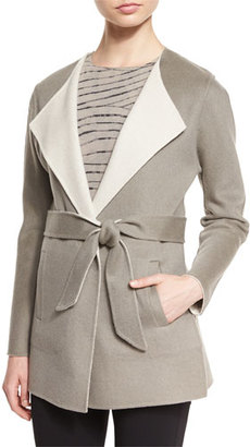 Armani Collezioni Belted Reversible Coat, Light Brown $1,595 thestylecure.com