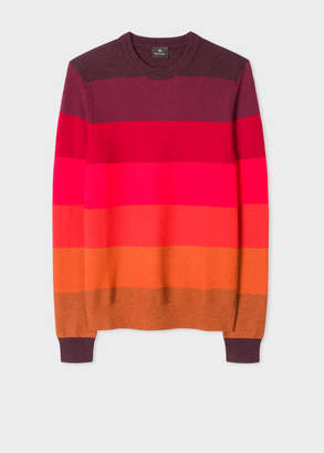 Paul Smith Men's Red Tonal Stripe Crew Neck Wool-Blend Sweater