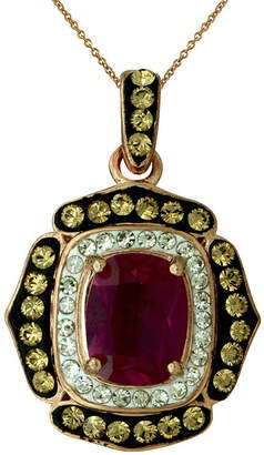 FINE JEWELRY 14K Rose Gold Over Silver Red Crystal Pendant