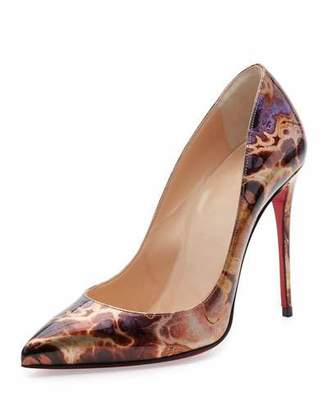 Christian Louboutin Pigalle Follies Printed 100mm Red Sole Pump, Brown/Multi $745 thestylecure.com