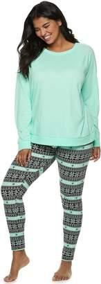 So Plus Size SO Tee & Thermal Leggings Pajama Set