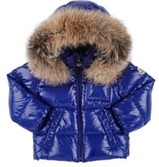 Moncler Fur-Trimmed Down-Quilted Coat-BLUE $475 thestylecure.com