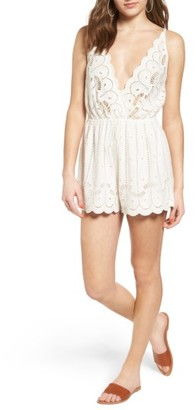 Women's Tularosa Charmer Eyelet Plunging Surplice Romper $158 thestylecure.com