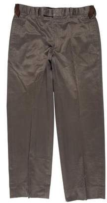 Hermes Leather-Trimmed Twill Pants