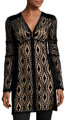 Nanette Lepore Long-Sleeve Velvet Lace Tunic, Black $628 thestylecure.com