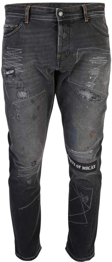 Distressed Effect Denim Jeans