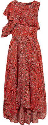Maje Ruffled Leopard-print Crepe Midi Dress - Coral