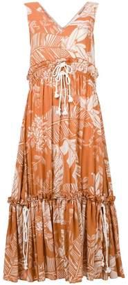 See by Chloe palm-print drawstring maxi dress