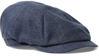 Brunello Cucinelli Prince Of Wales Checked Linen Flat Cap