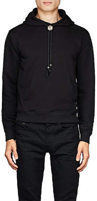 Saint Laurent Men's Bolo-Tie Cotton Terry Hoodie - Black