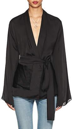 Juan Carlos Obando Women's Washed Satin Wrap Jacket - Black