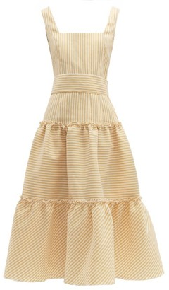 Luisa Beccaria Belted Tiered Linen Blend Midi Dress - Womens - Yellow