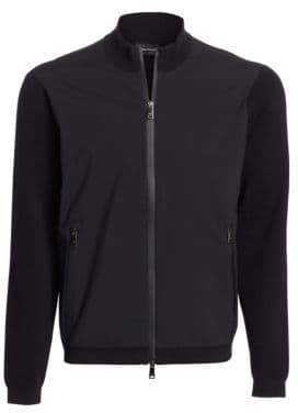 Emporio Armani Full Zip Mixed Media Sweater