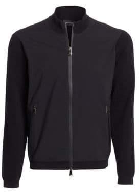 Emporio Armani Men's Full Zip Mixed Media Sweater - Black - Size XXL