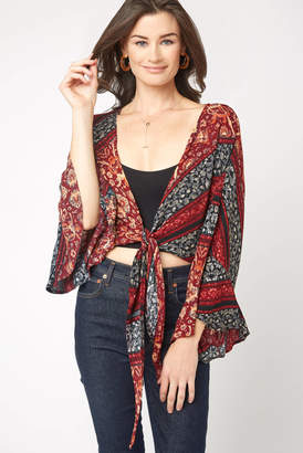 Olivaceous Tie Front Bell Sleeve Top