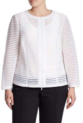 Lafayette 148 New York Plus Catrice Mesh Striped Jacket