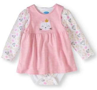 Bon Bebe Newborn Baby Girl Marled Terry Jumper & Bodysuit, 2pc Outfit Set