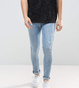 Just Junkies Super Skinny Jeans In Light Wash With Abrasions