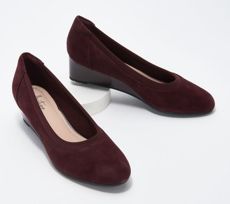 Clarks Collection Leather or Suede Wedges - Mallory Berry