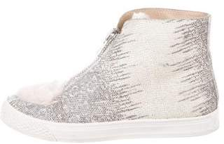 Loeffler Randall Shearling-Trimmed High-Top Sneakers