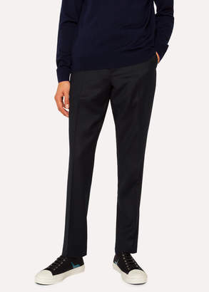 Paul Smith Men's Mid-Fit Black Wool Pants