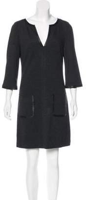 Trina Turk Leather-Trimmed Mini Dress