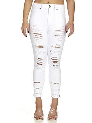 Cover Girl Women's Plus Size High Waisted Cute Ripped Fray Distressed Fit Skinny Juniors