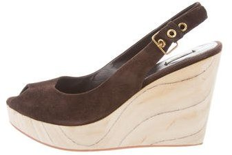 Miu MiuMiu Miu Slingback Wedge Sandals