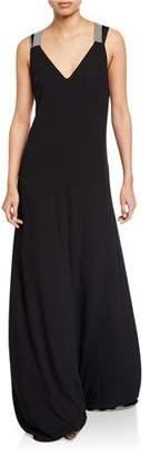 Brunello Cucinelli Monili-Strapped Long Silk Dress