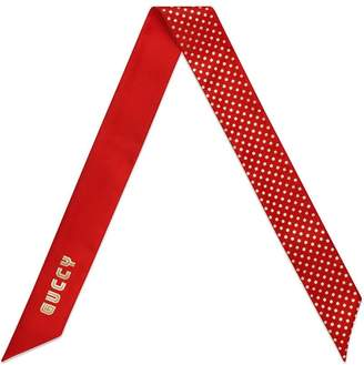 Gucci red Guccy silk neck bow