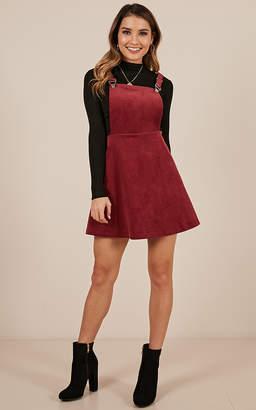 Showpo Thats What I Like Pinafore Dress In wine - 4 (XXS) Dresses