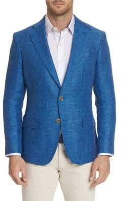 Robert Graham Men's Leland Tailored-Fit Linen-Blend Blazer - Blue - Size 38