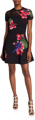 Valentino Tropical Dream Short-Sleeve Knit Dress
