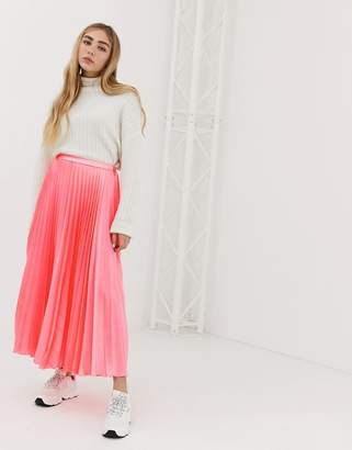 Asos DESIGN pleated midi skirt in neon satin